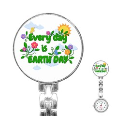 Earth Day Stainless Steel Nurses Watch by Valentinaart