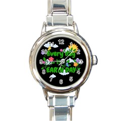 Earth Day Round Italian Charm Watch by Valentinaart