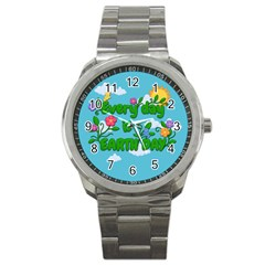 Earth Day Sport Metal Watch by Valentinaart