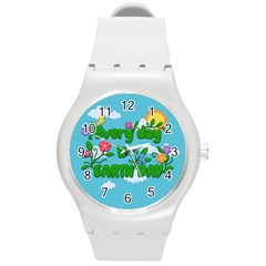 Earth Day Round Plastic Sport Watch (m) by Valentinaart