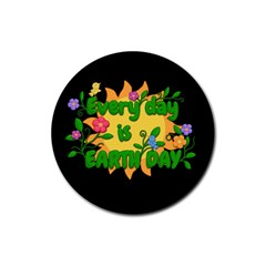 Earth Day Rubber Round Coaster (4 Pack)  by Valentinaart