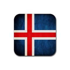 Iceland Flag Rubber Coaster (square)  by Valentinaart