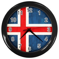Iceland Flag Wall Clocks (black) by Valentinaart