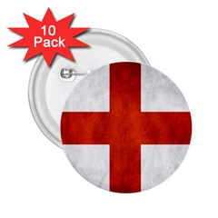 England Flag 2 25  Buttons (10 Pack)  by Valentinaart