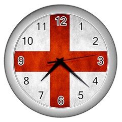 England Flag Wall Clocks (silver)  by Valentinaart