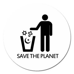 Save The Planet   Religions  Magnet 5  (round) by Valentinaart