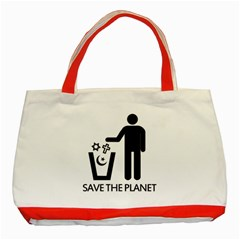 Save The Planet   Religions  Classic Tote Bag (red) by Valentinaart