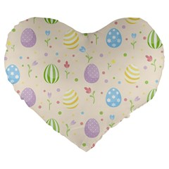 Easter Pattern Large 19  Premium Heart Shape Cushions by Valentinaart