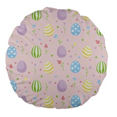 Easter Pattern Large 18  Premium Flano Round Cushions by Valentinaart