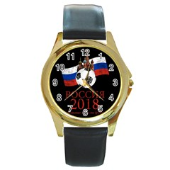 Russia Football World Cup Round Gold Metal Watch by Valentinaart