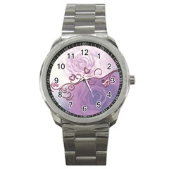 Wonderful Soft Violet Roses With Hearts Sport Metal Watch by FantasyWorld7
