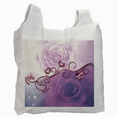 Wonderful Soft Violet Roses With Hearts Recycle Bag (one Side) by FantasyWorld7