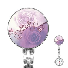 Wonderful Soft Violet Roses With Hearts Stainless Steel Nurses Watch by FantasyWorld7