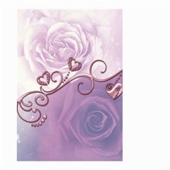 Wonderful Soft Violet Roses With Hearts Small Garden Flag (two Sides) by FantasyWorld7