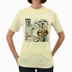 Liquid Gold And Navy Marble Women s Yellow T Shirt