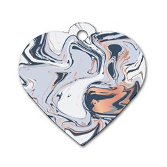 Liquid Gold And Navy Marble Dog Tag Heart (one Side) by goljakoff