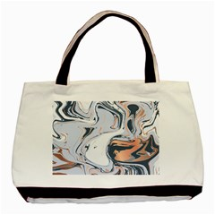 Liquid Gold And Navy Marble Basic Tote Bag (two Sides)