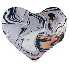 Liquid Gold And Navy Marble Large 19  Premium Heart Shape Cushions by goljakoff