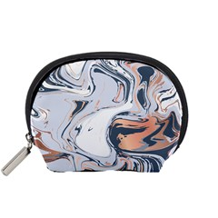 Liquid Gold And Navy Marble Accessory Pouches (small)