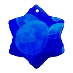 Blue Jellyfish 1 Snowflake Ornament (two Sides) by trendistuff
