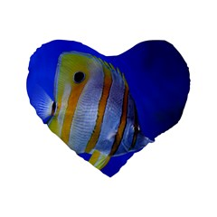 Butterfly Fish 1 Standard 16  Premium Flano Heart Shape Cushions by trendistuff