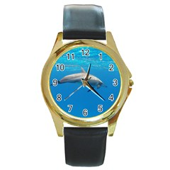 Dolphin 3 Round Gold Metal Watch by trendistuff