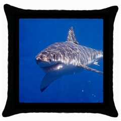 Great White Shark 5 Throw Pillow Case (black)