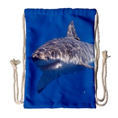 Great White Shark 5 Drawstring Bag (large) by trendistuff