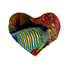 Regal Angelfish Standard 16  Premium Flano Heart Shape Cushions by trendistuff