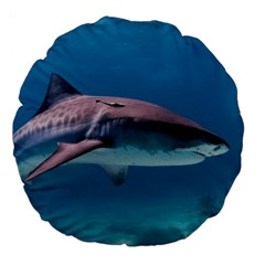 Tiger Shark 1 Large 18  Premium Flano Round Cushions by trendistuff