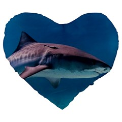 Tiger Shark 1 Large 19  Premium Flano Heart Shape Cushions by trendistuff