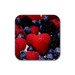 Berries 1 Rubber Square Coaster (4 Pack)  by trendistuff