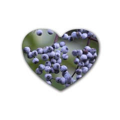 Blueberries 2 Rubber Coaster (heart)  by trendistuff