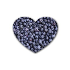 Blueberries 3 Rubber Coaster (heart)  by trendistuff