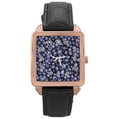 Blueberries 3 Rose Gold Leather Watch  by trendistuff