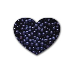 Blueberries 4 Rubber Coaster (heart)  by trendistuff