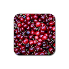 Cherries 1 Rubber Coaster (square)  by trendistuff