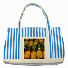 Pineapple 1 Striped Blue Tote Bag by trendistuff