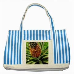 Pineapple 2 Striped Blue Tote Bag by trendistuff