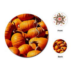 Pumpkins 3 Playing Cards (round)  by trendistuff