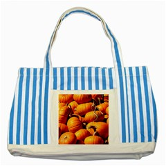 Pumpkins 3 Striped Blue Tote Bag by trendistuff