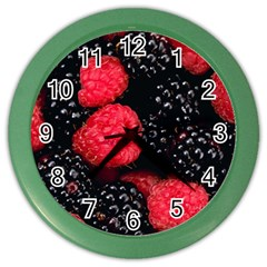 Raspberries 1 Color Wall Clocks by trendistuff