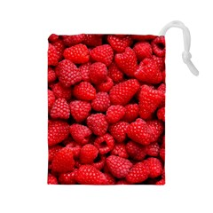 Raspberries 2 Drawstring Pouches (large)  by trendistuff