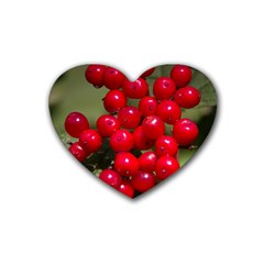 Red Berries 2 Rubber Coaster (heart)  by trendistuff