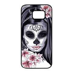 Day Of The Dead Sugar Skull Samsung Galaxy S7 Edge Black Seamless Case by StarvingArtisan