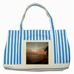 Red Sunset Rincon Puerto Rico Striped Blue Tote Bag by StarvingArtisan