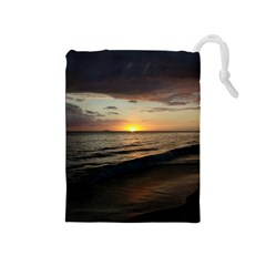 Sunset On Rincon Puerto Rico Drawstring Pouches (medium)  by StarvingArtisan