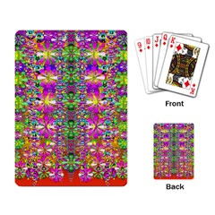 Flower Wall With Wonderful Colors And Bloom Playing Card by pepitasart