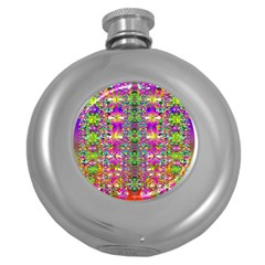 Flower Wall With Wonderful Colors And Bloom Round Hip Flask (5 Oz) by pepitasart