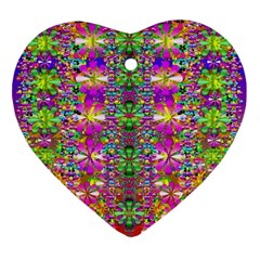 Flower Wall With Wonderful Colors And Bloom Heart Ornament (two Sides) by pepitasart